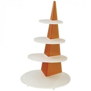 Présentoir à verrines obélisque orange h 62 cm