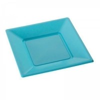 Assiette carree 23cm turquoise. x12