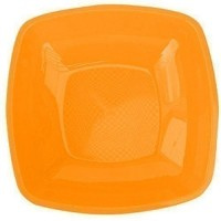 Assiette carree  x12 orange
