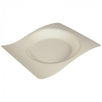 Assiette vague plastique 22x18 cm ivoire x12