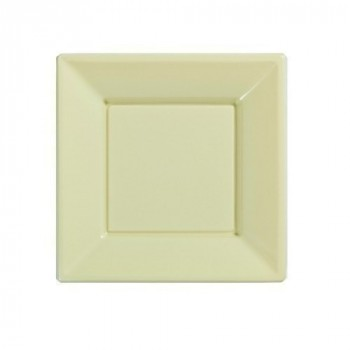 Assiette carree 23cm ivoire x8